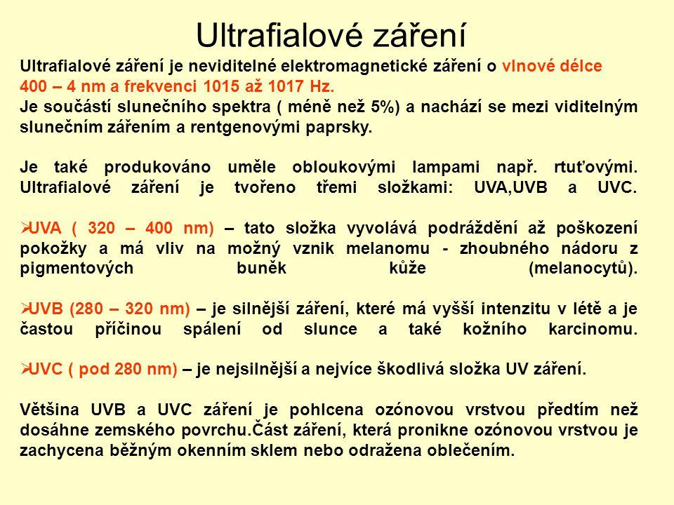Ultrafialové záření Ultrafialové záření je neviditelné elektromagnetické záření o vlnové délce. 400 – 4 nm a frekvenci 1015 až 1017 Hz.