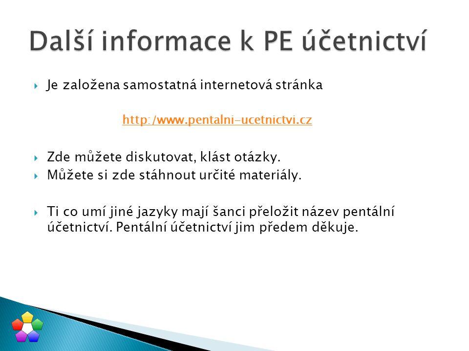 Další informace k PE účetnictví