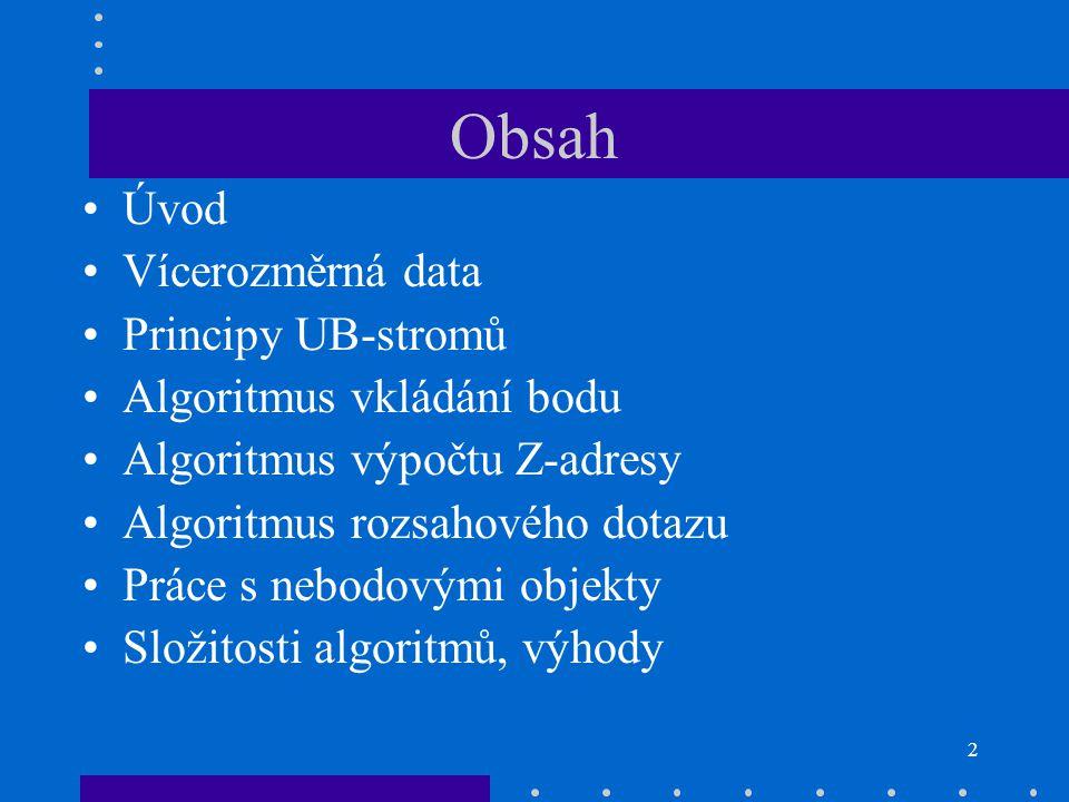 Obsah Úvod Vícerozměrná data Principy UB-stromů
