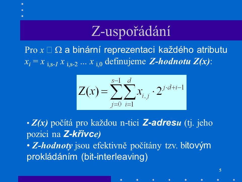 Z-uspořádání Pro x Î W a binární reprezentaci každého atributu