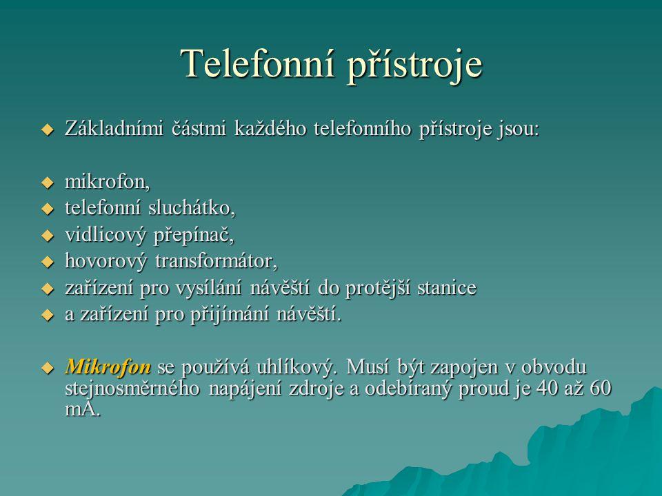 Telefonní přístroje Základními částmi každého telefonního přístroje jsou: mikrofon, telefonní sluchátko,