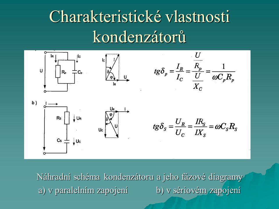Charakteristické vlastnosti kondenzátorů