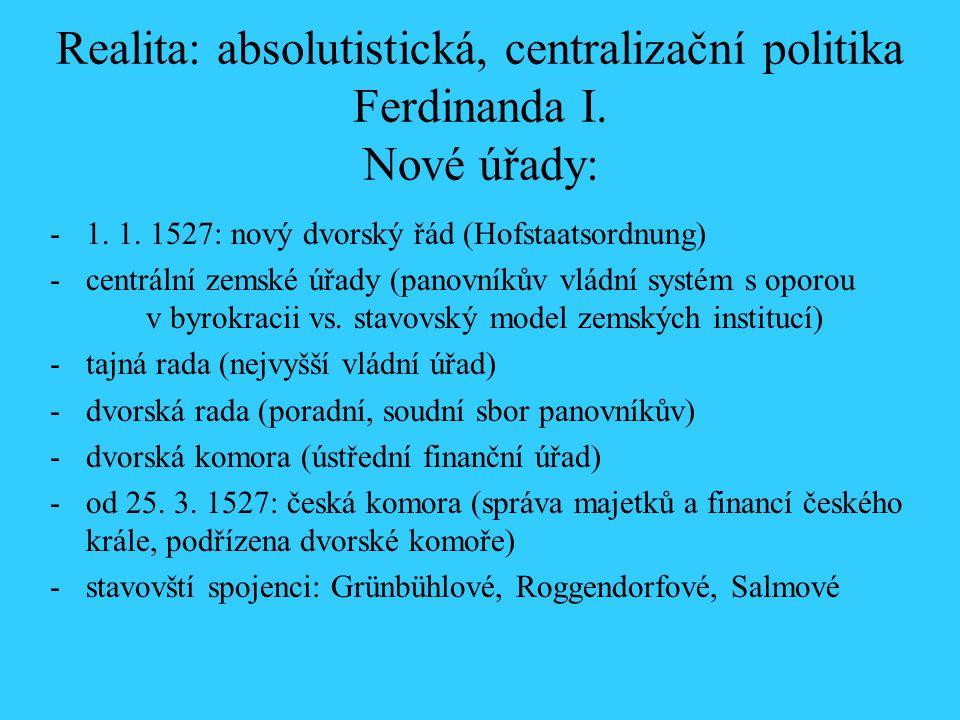 Realita: absolutistická, centralizační politika Ferdinanda I
