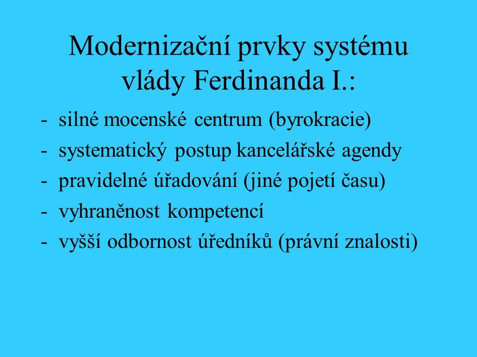Modernizační prvky systému vlády Ferdinanda I.: