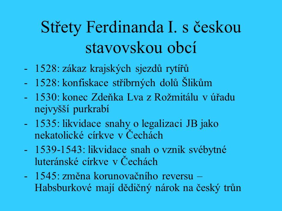 Střety Ferdinanda I. s českou stavovskou obcí
