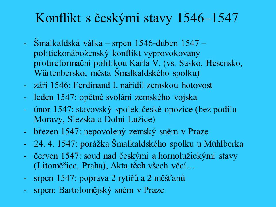 Konflikt s českými stavy 1546–1547