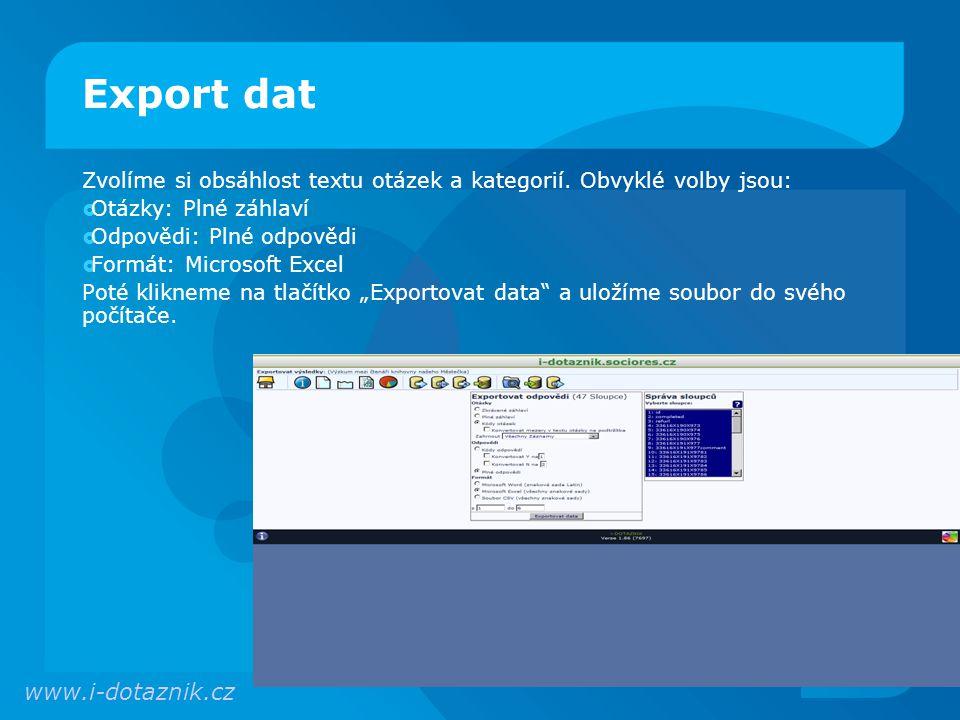 Export dat www.i-dotaznik.cz