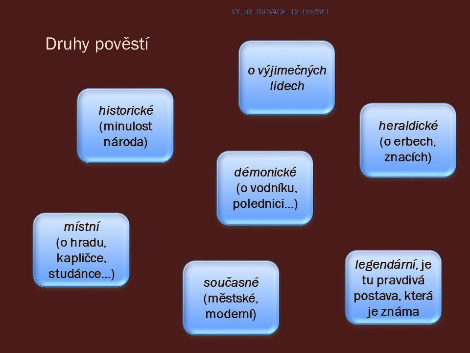 Druhy pověstí o výjimečných lidech historické (minulost národa)