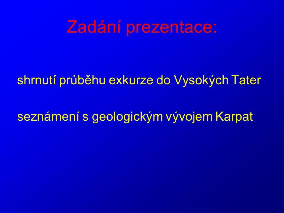 Zadání prezentace: shrnutí průběhu exkurze do Vysokých Tater