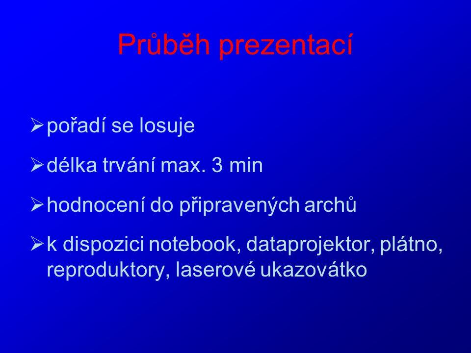 Průběh prezentací pořadí se losuje délka trvání max. 3 min