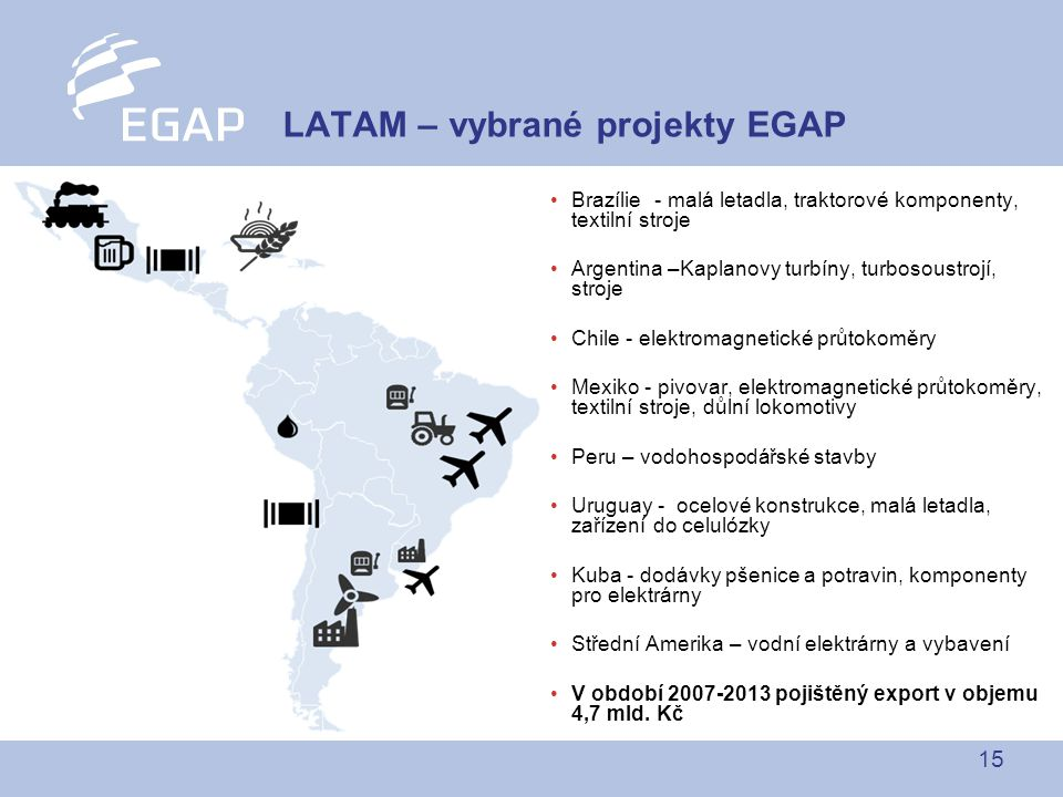 LATAM – vybrané projekty EGAP
