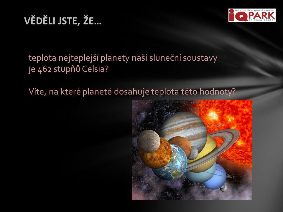 VĚDĚLI JSTE, ŽE… teplota nejteplejší planety naší sluneční soustavy