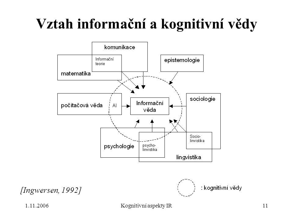 Vztah informační a kognitivní vědy