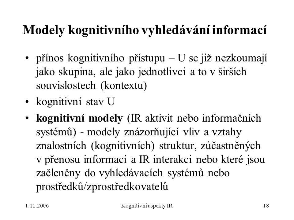 Modely kognitivního vyhledávání informací