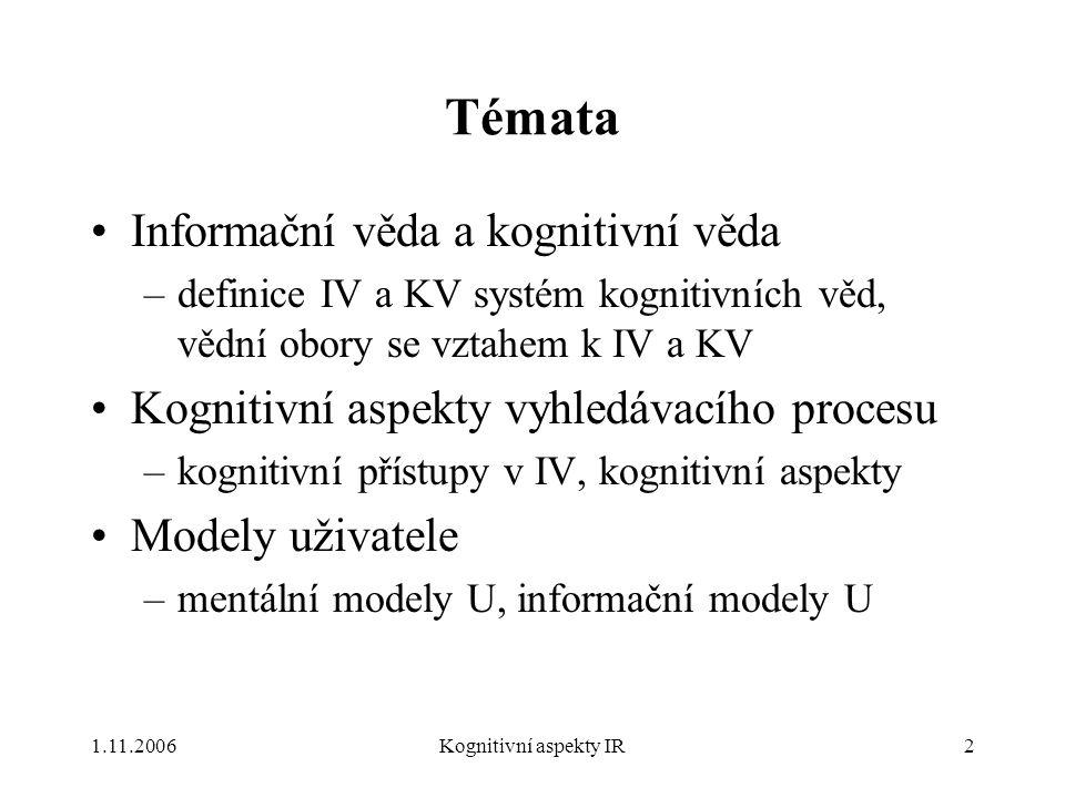 Témata Informační věda a kognitivní věda
