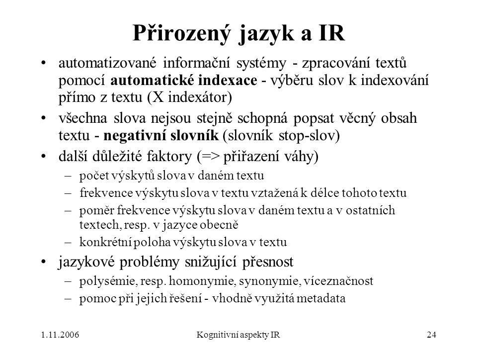 Přirozený jazyk a IR