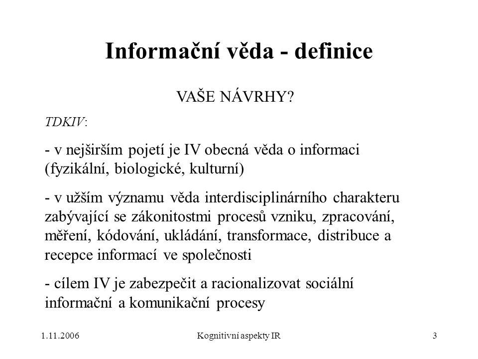 Informační věda - definice