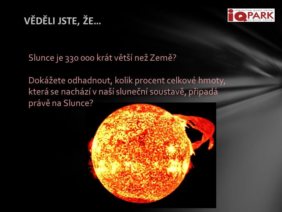 VĚDĚLI JSTE, ŽE… Slunce je 330 000 krát větší než Země