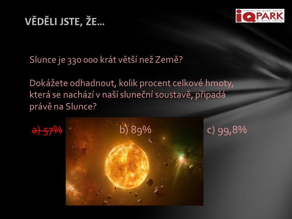 VĚDĚLI JSTE, ŽE… a) 57% b) 89% c) 99,8%