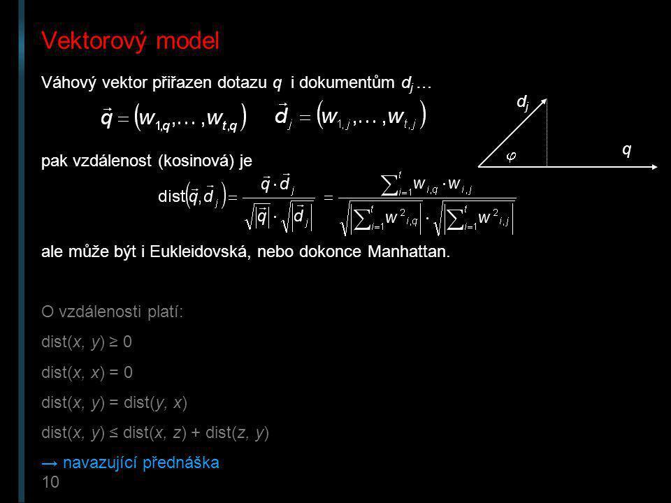 Vektorový model Váhový vektor přiřazen dotazu q i dokumentům dj … dj