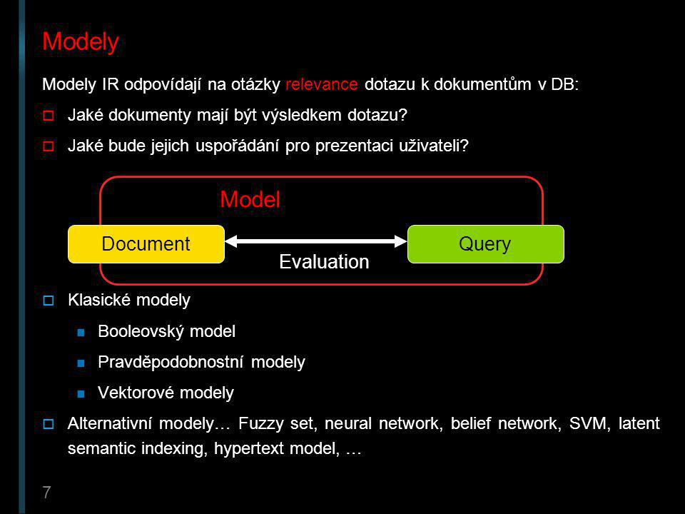 Modely Model Document Query Evaluation