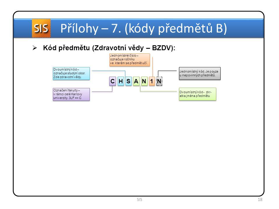 Přílohy – 7. (kódy předmětů B)