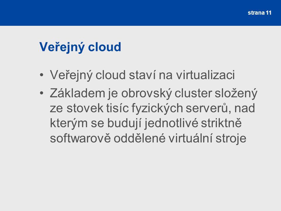 Veřejný cloud Veřejný cloud staví na virtualizaci.