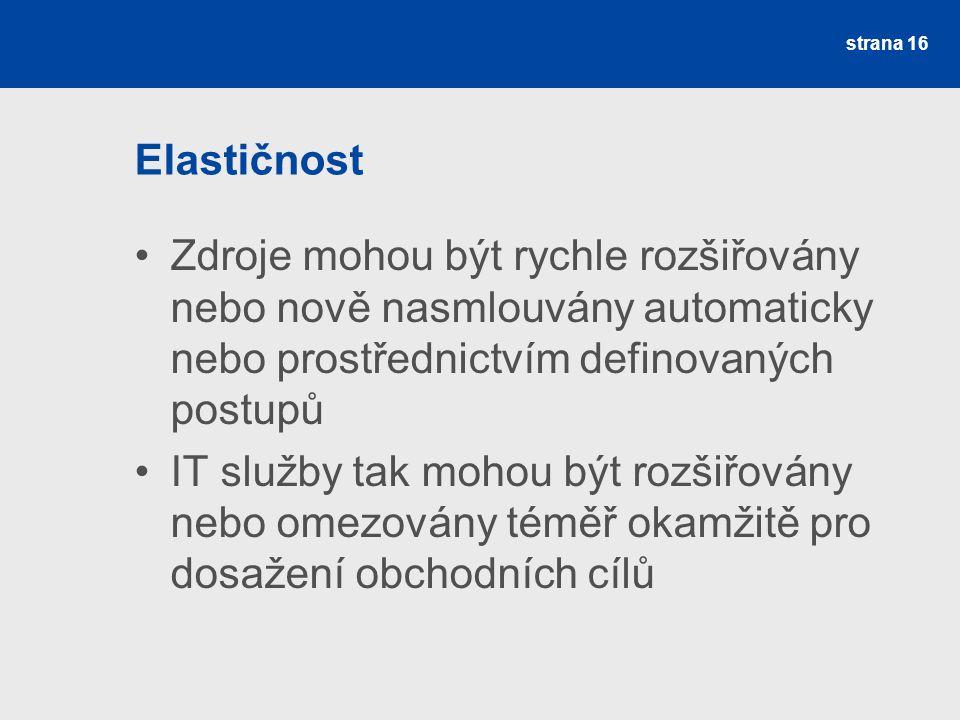 Elastičnost Zdroje mohou být rychle rozšiřovány nebo nově nasmlouvány automaticky nebo prostřednictvím definovaných postupů.