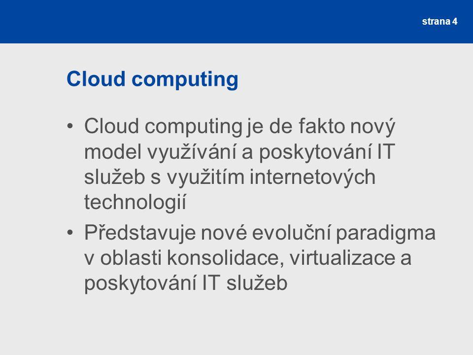 Cloud computing Cloud computing je de fakto nový model využívání a poskytování IT služeb s využitím internetových technologií.