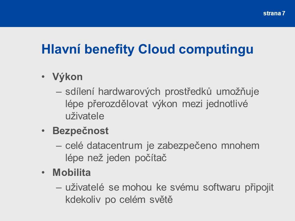 Hlavní benefity Cloud computingu
