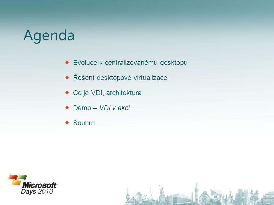 Agenda Evoluce k centralizovanému desktopu