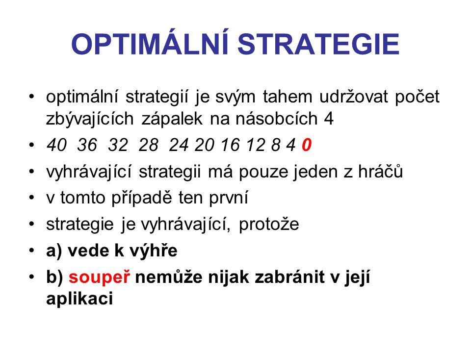 OPTIMÁLNÍ STRATEGIE optimální strategií je svým tahem udržovat počet zbývajících zápalek na násobcích 4.