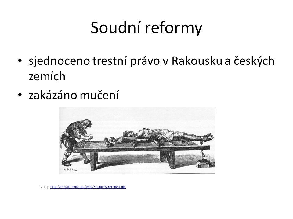 Soudní reformy sjednoceno trestní právo v Rakousku a českých zemích