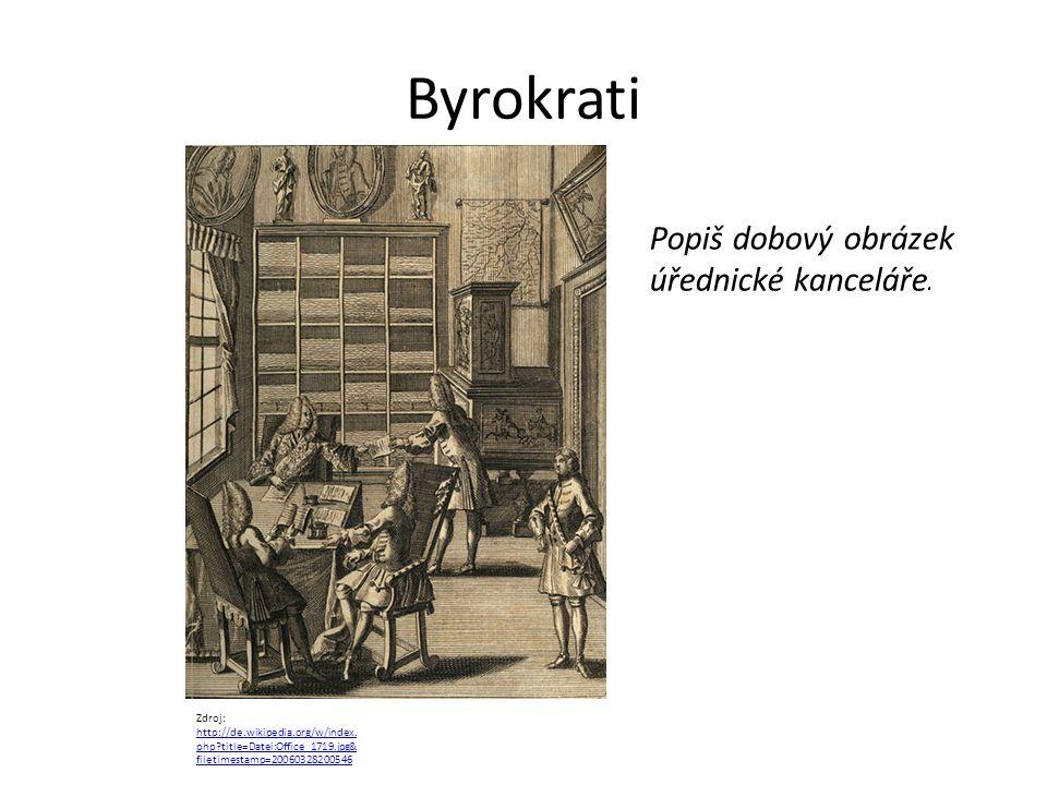 Byrokrati Popiš dobový obrázek úřednické kanceláře.