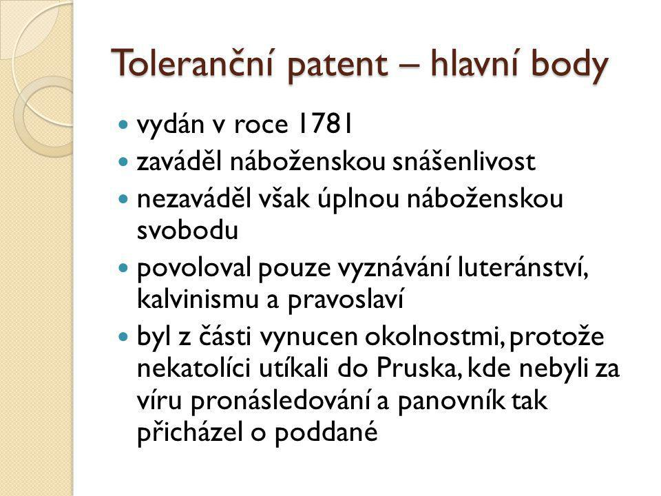 Toleranční patent – hlavní body