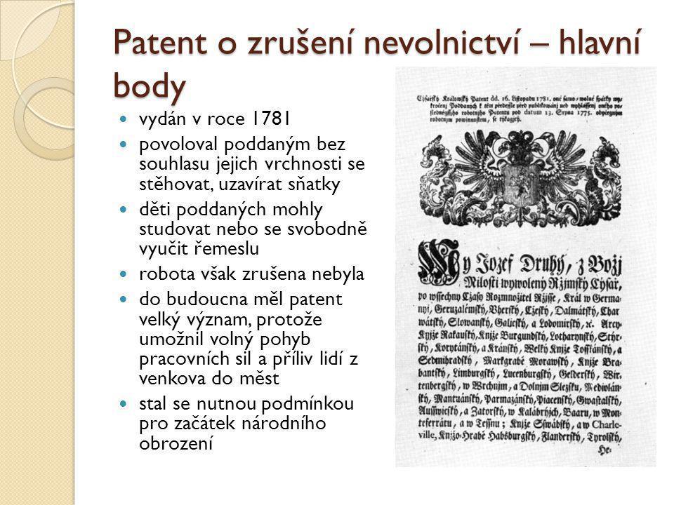 Patent o zrušení nevolnictví – hlavní body
