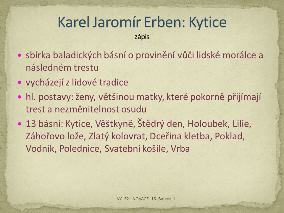 Karel Jaromír Erben: Kytice zápis