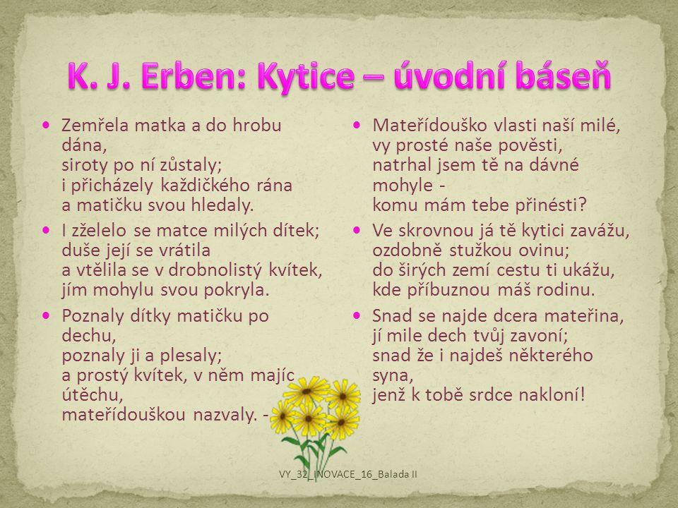 K. J. Erben: Kytice – úvodní báseň