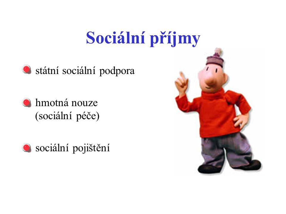 Sociální příjmy státní sociální podpora hmotná nouze (sociální péče)