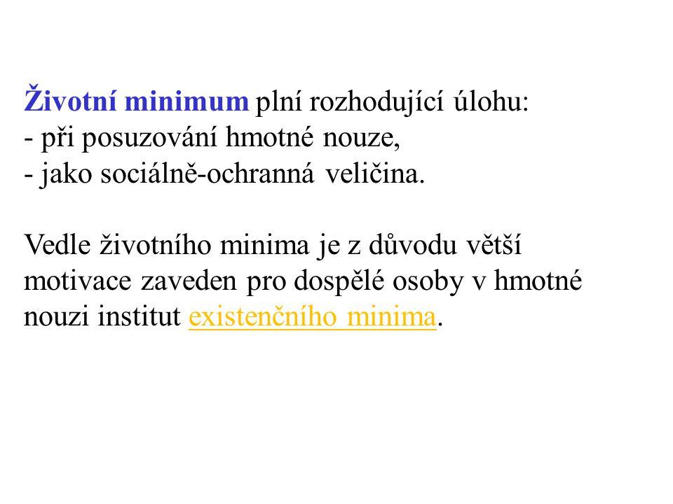 Životní minimum plní rozhodující úlohu: - při posuzování hmotné nouze,