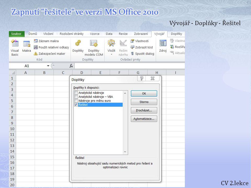 Zapnutí řešitele ve verzi MS Office 2010