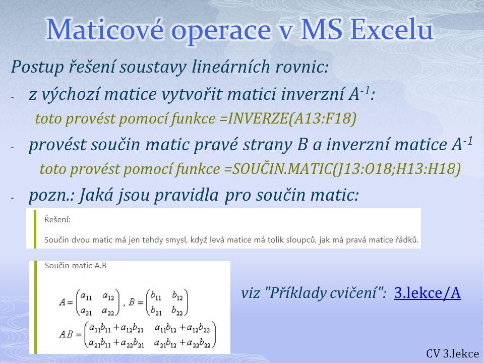Maticové operace v MS Excelu