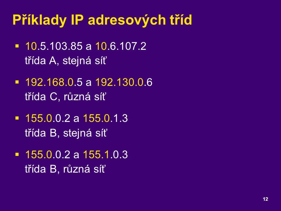 Příklady IP adresových tříd