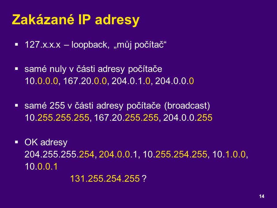 """Zakázané IP adresy 127.x.x.x – loopback, """"můj počítač"""