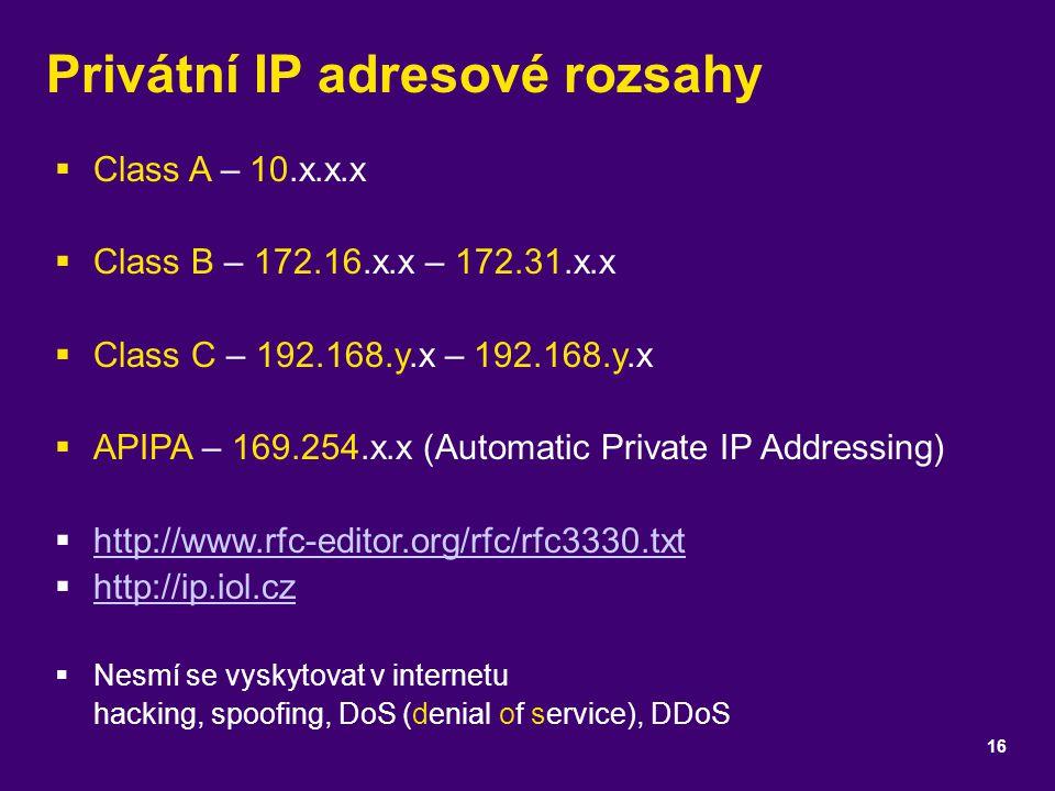 Privátní IP adresové rozsahy
