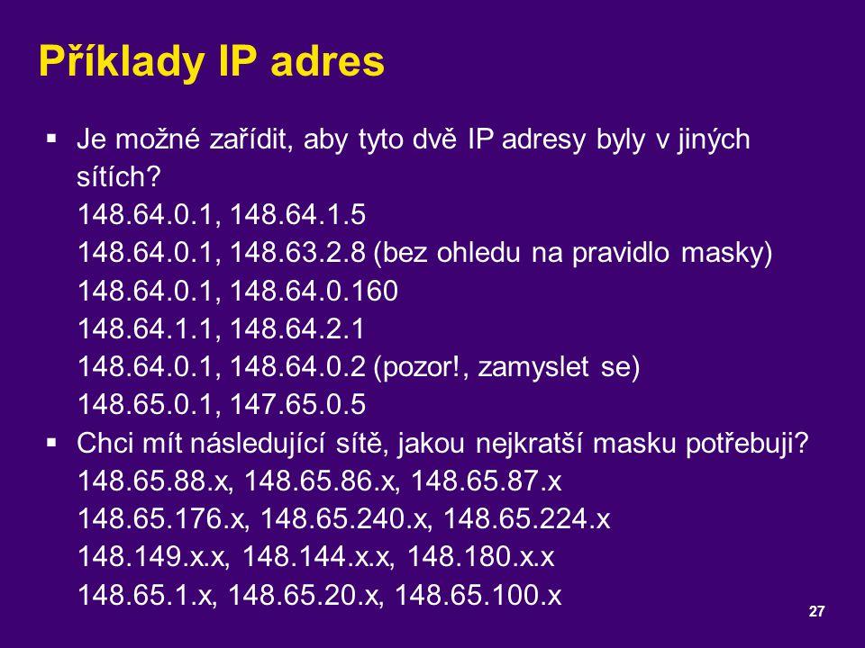Příklady IP adres