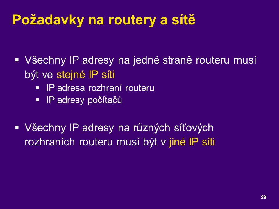 Požadavky na routery a sítě