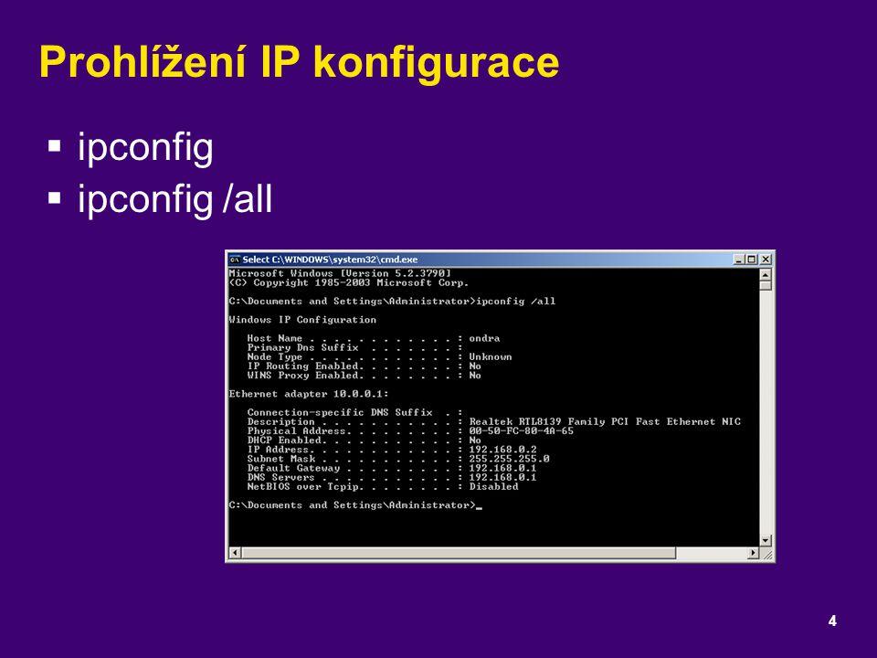 Prohlížení IP konfigurace
