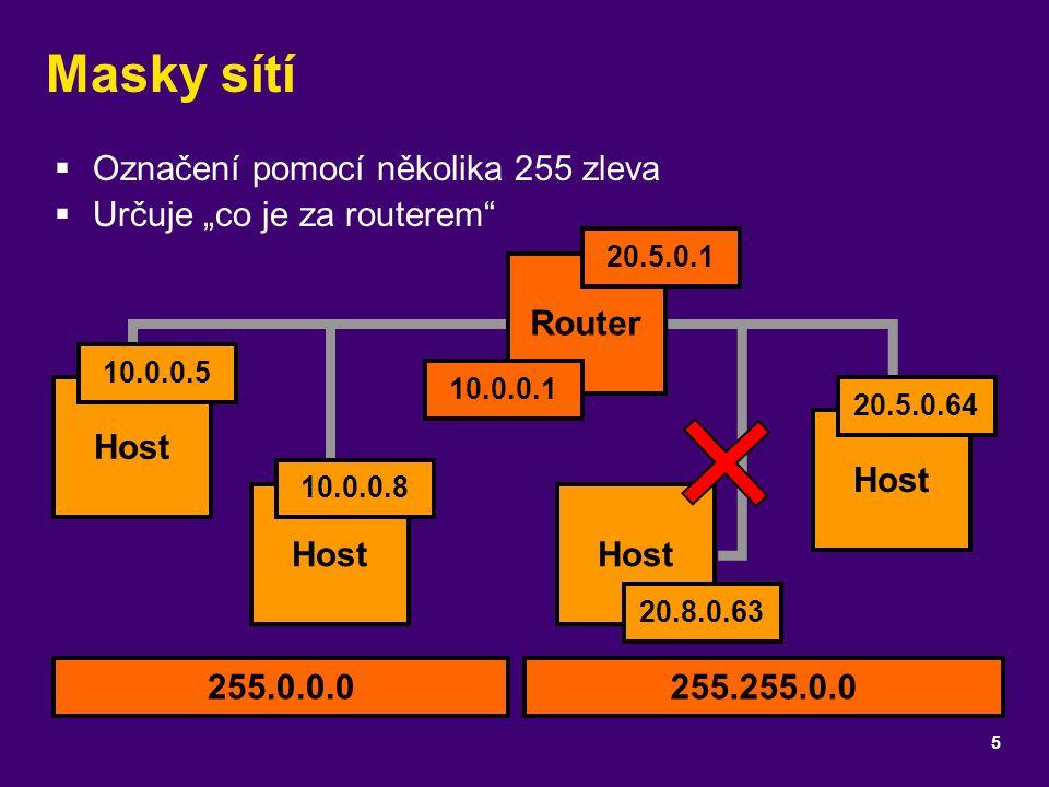 Masky sítí Označení pomocí několika 255 zleva