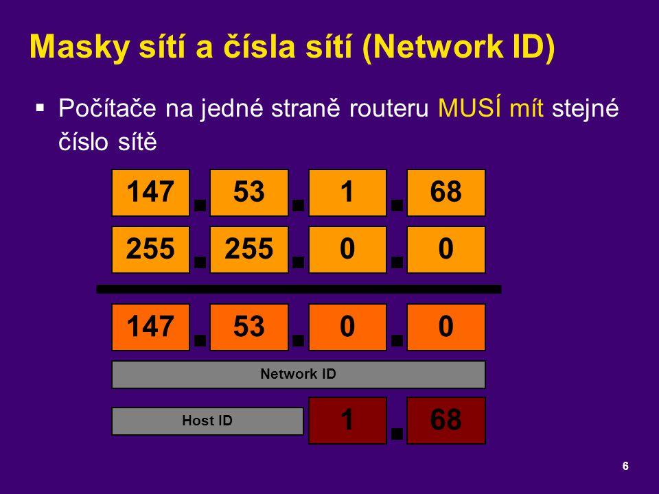 Masky sítí a čísla sítí (Network ID)